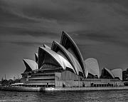 Opera House Framed Prints - Sydney Opera House Print Image in Black and White Framed Print by Chris Smith