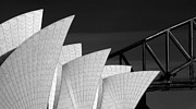 Sydney Opera House With Bridge Backdrop Print by Sheila Smart