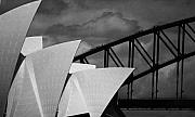 Opera House Framed Prints - Sydney Opera House with Harbour Bridge Framed Print by Sheila Smart