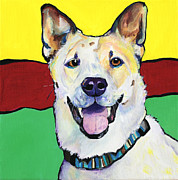 Acrylic Dog Paintings - Sydney by Pat Saunders-White            
