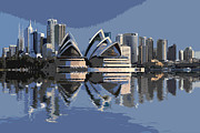 Sydney Skyline Digital Art Prints - Sydney Skyline Print by David Pringle