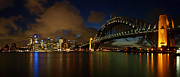 Dark Green Framed Prints - Sydney Skyline Framed Print by Melanie Viola