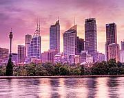 Rights Managed Framed Prints - Sydney Tower Skyline At Sunset Framed Print by Chris Smith