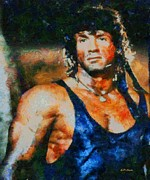 Stallone Paintings - Sylvester Stallone First Blood by Elizabeth Coats