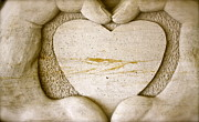 Hand Pyrography Prints - Symbol of love Print by Ted Wheaton