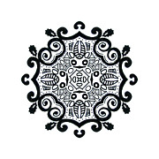 Decor Photography Drawings Posters - Symbolic- Ink Mandala Poster by Lindsay Kokoska