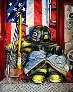 Fire Gear Paintings - Symbols Of Heroism by Paul Walsh