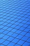 Flooring Prints - Symmetrical Pattern Of Blue Squares Print by David Chapman