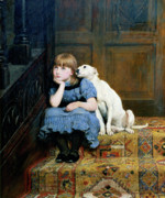 Little Girl Framed Prints - Sympathy Framed Print by Briton Riviere