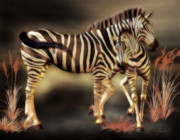 Zebra Digital Art - Sympathy by Jutta Maria Pusl