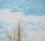 Snow-covered Landscape Painting Posters - Symphony in the snow Poster by Veronika Logar