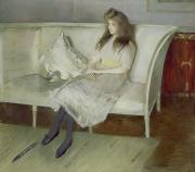 Carpet Posters - Symphony in White Poster by Paul Cesar Helleu