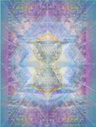 Chalicebridge.com Posters - SyntheCentered DoubleStar Chalice in BlueAurayed MultiVortexes on Tapestry Poster by Christopher Pringer