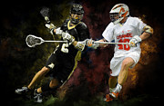 Lacrosse Paintings - Syracuse close D by Scott Melby