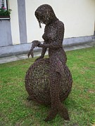Landscapes Sculptures - Syren wire sculpture by Leslie Komaromi