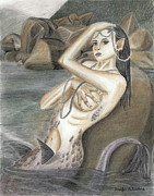 Siren Drawings - Syrena Basking in Pearls by Jennifer LaBombard