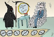 Grim Drawings - Syria Welcomes Death Cartoon by Yasha Harari
