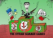 Army Drawings Originals - Syrian Summer Games cartoon by Yasha Harari
