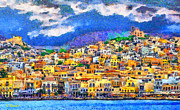 Surreal Landscape Painting Metal Prints - Syros Metal Print by George Rossidis