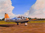 Usaf Painting Framed Prints - T 28 at Spence AB Georgia Framed Print by William Frew