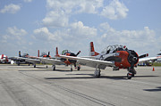 Warplane Prints - T-28c Trojan Aircraft Lined Print by Stocktrek Images