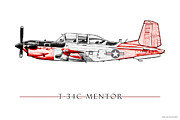 Aviator Digital Art Posters - T-34C Mentor Poster by Clay Greunke