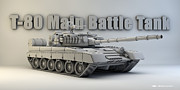 Cinema 4d Prints - T-80 Main Battle Tank Print by Dale Jackson