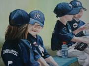 Baseball Glove Paintings - T Ball Friends by Charlotte Yealey