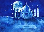India Painting Metal Prints - T is for Taj Mahal... Metal Print by Will Bullas