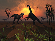 Bare Trees Metal Prints - T. Rex Confronts A Group Metal Print by Mark Stevenson
