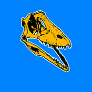 Yellow Digital Art Acrylic Prints - T-Rex Graphic Acrylic Print by Pixel  Chimp