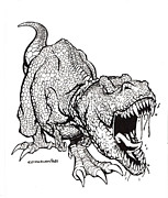 T Rex Drawings - T-rex by Isaac Cordova