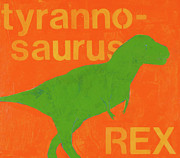 Children Print Painting Originals - T Rex by Laurie Breen