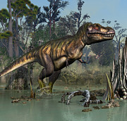 T-rex Digital Art - T-Rex Swamp Walk by Kurt Miller