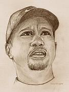 Tiger Woods Drawings - T. Woods by Nan Wright