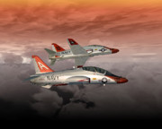 Naval Aviation Posters - T45 Kiss-Off Poster by Mike Ray