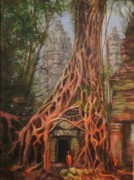 Ancient Ruins Posters - Ta Prohm Cambodia Poster by Tom Shropshire