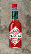 White Glass Posters - Tabasco Hot Sauce Poster by Elaine Hodges