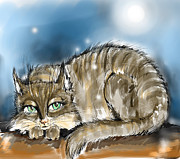 Animals Digital Art - Tabby cat  by Angel  Tarantella