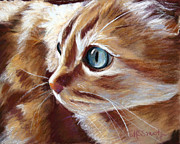 Orange Cat Pastels Posters - Tabby Cat  Poster by Mary Sparrow Smith