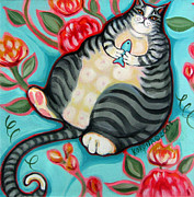 Humorous Cat Paintings - Tabby Cat on a Cushion by Rebecca Korpita