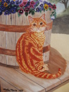 Stella Sherman Art - Tabby Cat by Stella Sherman