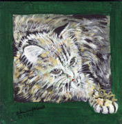 Wooden Ware Mixed Media Prints - Tabby Cat with Cricket Trinket Box Print by Arlene  Wright-Correll