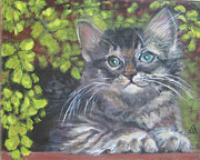 Kitten Prints Framed Prints - Tabby Kitten in the Ferns Framed Print by Gayle Rene