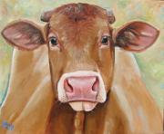 Cows Acrylic Prints - Tabitha Acrylic Print by Laura Carey