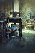 Haunted House Photo Posters - Table and Chairs Poster by Jill Battaglia