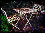 Patio Table And Chairs Posters - Table and Chairs Poster by Joan  Minchak