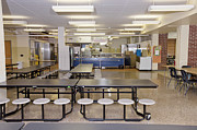 Grade School Prints - Table And Seats in a School Cafeteria Print by Will & Deni McIntyre