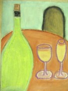 Wine Glasses Pastels Posters - Table for one Poster by Gail Sheley - Davenport