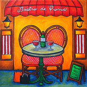 Bistro Paintings - Table for Two in Paris by Lisa  Lorenz